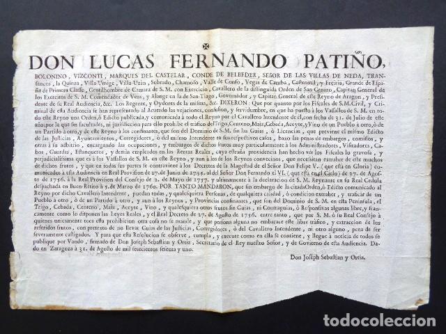 AÑO 1761. ZARAGOZA. REAL ORDEN DE L. FERNANDO PATIÑO, GOBERNADOR Y CAPITAN ARAGÓN. TRAFICO DE VINO (Coleccionismo - Documentos - Manuscritos)