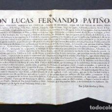 Manuscritos antiguos: AÑO 1761. ZARAGOZA. REAL ORDEN DE L. FERNANDO PATIÑO, GOBERNADOR Y CAPITAN ARAGÓN. TRAFICO DE VINO. Lote 225229805