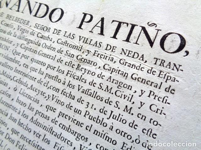 Manuscritos antiguos: AÑO 1761. ZARAGOZA. REAL ORDEN DE L. FERNANDO PATIÑO, GOBERNADOR Y CAPITAN ARAGÓN. TRAFICO DE VINO - Foto 2 - 225229805