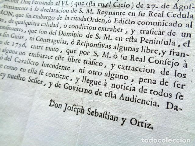 Manuscritos antiguos: AÑO 1761. ZARAGOZA. REAL ORDEN DE L. FERNANDO PATIÑO, GOBERNADOR Y CAPITAN ARAGÓN. TRAFICO DE VINO - Foto 3 - 225229805