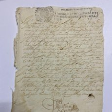 Manuscritos antiguos: TIMBROLOGIA. SELLO CUARTO. 10 MARAVEDIS. 1693. MANUSCRITO. VER FOTOS. Lote 225550551