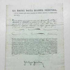 Manuscritos antiguos: FIRMA REAL. REINA DOÑA ISABEL SEGUNDA. YO LA REYNA GOBERNADORA. NOMBRAMIENTO. 1837. Lote 225558037