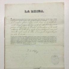 Manuscritos antiguos: FIRMA REAL. LA REINA. YO LA REYNA. CONCESIÓN RETIRO CON SUELDO TENIENTE CORONEL. 1860.. Lote 225559146