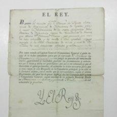 Manuscritos antiguos: FIRMA REAL. CARLOS IV. 1804. NOMBREMIENTO MILITAR.. Lote 225560070