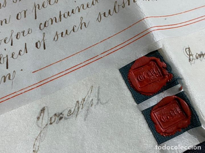 Manuscritos antiguos: MANUSCRITO PERGAMINO INGLES DOBLE 1876. 56X72 CM CADA HOJA. MULTITUD DE FIRMAS. DECORATIVO - Foto 2 - 225572830