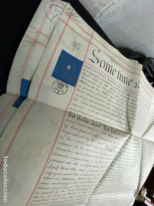 Manuscritos antiguos: MANUSCRITO PERGAMINO INGLES DOBLE 1876. 56X72 CM CADA HOJA. MULTITUD DE FIRMAS. DECORATIVO - Foto 3 - 225572830