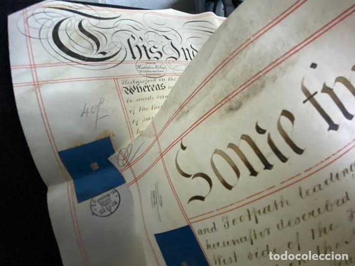 Manuscritos antiguos: MANUSCRITO PERGAMINO INGLES DOBLE 1876. 56X72 CM CADA HOJA. MULTITUD DE FIRMAS. DECORATIVO - Foto 6 - 225572830