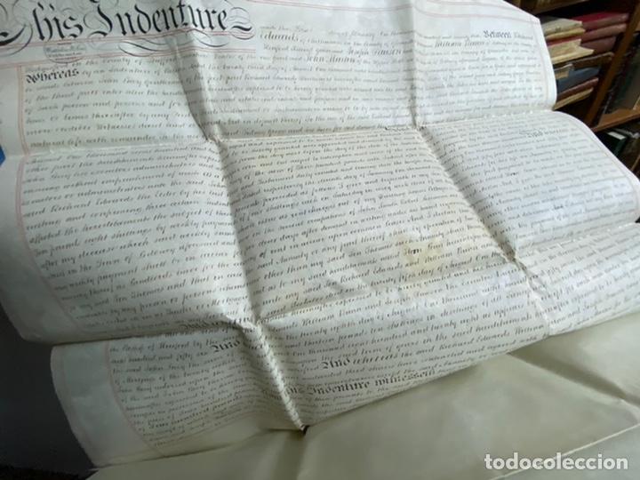 Manuscritos antiguos: MANUSCRITO PERGAMINO INGLES DOBLE 1876. 56X72 CM CADA HOJA. MULTITUD DE FIRMAS. DECORATIVO - Foto 8 - 225572830