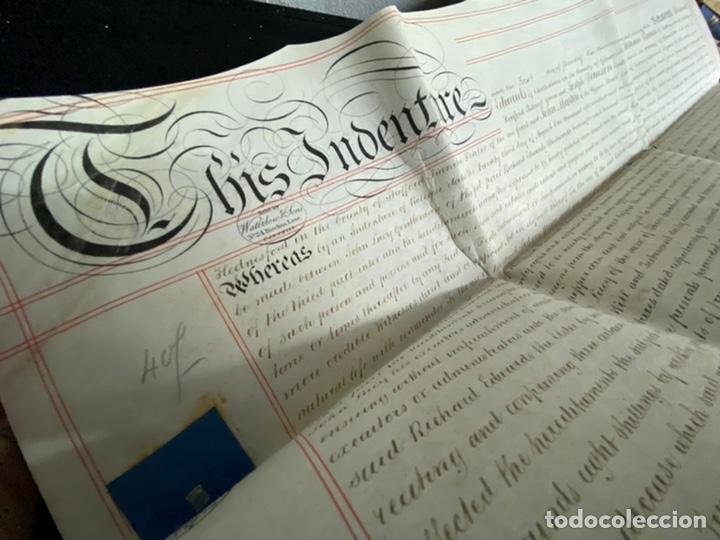 Manuscritos antiguos: MANUSCRITO PERGAMINO INGLES DOBLE 1876. 56X72 CM CADA HOJA. MULTITUD DE FIRMAS. DECORATIVO - Foto 9 - 225572830