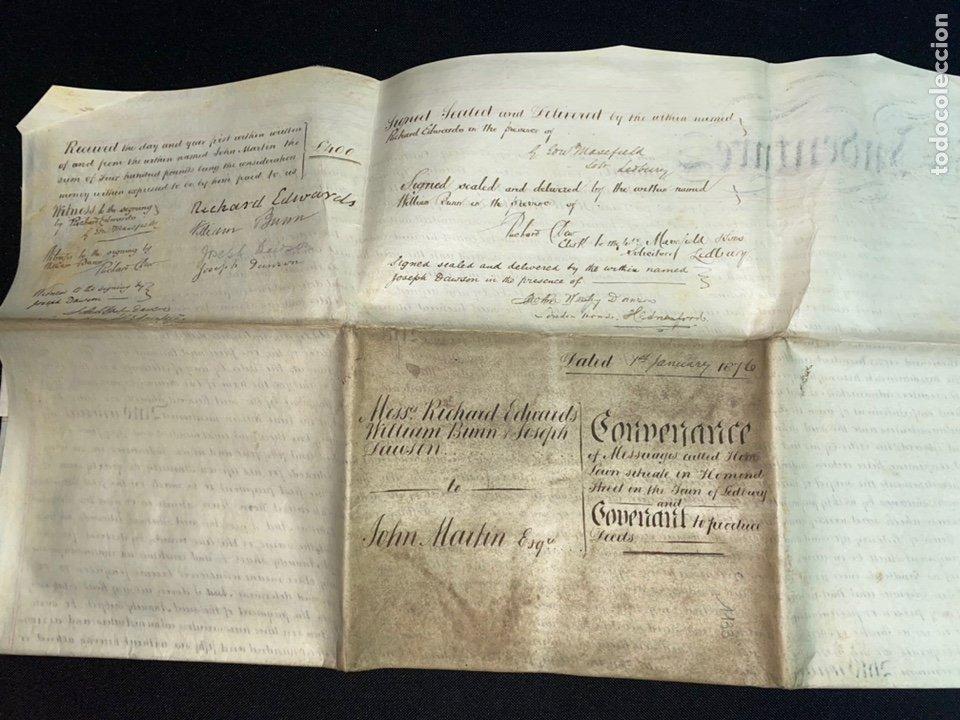 Manuscritos antiguos: MANUSCRITO PERGAMINO INGLES DOBLE 1876. 56X72 CM CADA HOJA. MULTITUD DE FIRMAS. DECORATIVO - Foto 10 - 225572830