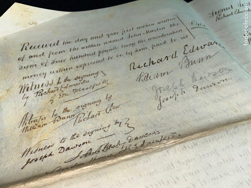 Manuscritos antiguos: MANUSCRITO PERGAMINO INGLES DOBLE 1876. 56X72 CM CADA HOJA. MULTITUD DE FIRMAS. DECORATIVO - Foto 11 - 225572830