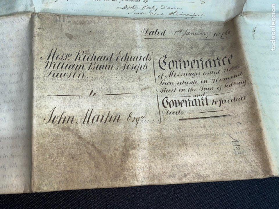 Manuscritos antiguos: MANUSCRITO PERGAMINO INGLES DOBLE 1876. 56X72 CM CADA HOJA. MULTITUD DE FIRMAS. DECORATIVO - Foto 13 - 225572830