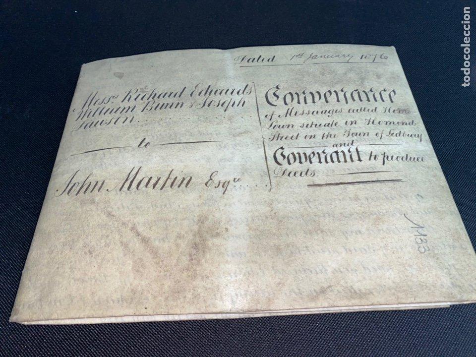 Manuscritos antiguos: MANUSCRITO PERGAMINO INGLES DOBLE 1876. 56X72 CM CADA HOJA. MULTITUD DE FIRMAS. DECORATIVO - Foto 14 - 225572830