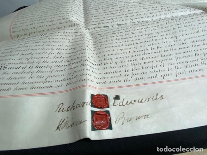 MANUSCRITO PERGAMINO INGLES DOBLE 1876. 56X72 CM CADA HOJA. MULTITUD DE FIRMAS. DECORATIVO (Coleccionismo - Documentos - Manuscritos)