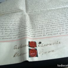Manuscritos antiguos: MANUSCRITO PERGAMINO INGLES DOBLE 1876. 56X72 CM CADA HOJA. MULTITUD DE FIRMAS. DECORATIVO. Lote 225572830