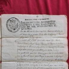 Manuscritos antiguos: MANUSCRITO 1804. ESPLUGA DE FRANCOLI. SELLO CAROLUS IV HISPANIARUM REX. RAMON Y JOSEPH GUASH. Lote 226993980