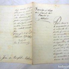 Manuscritos antiguos: ANTIGUO DOCUMENTO - OLD PAPIER : SOLICITUD A JUNTA DE RIEGO DE LA FUENTE DEL PUERTO DE ALBAIDA. 1869. Lote 227468785