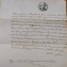 Manuscritos antiguos: CERVIÀ. LLEIDA. LÉRIDA. DOCUMENTO SELLO 4º. 1846. SELLO Y SELLO SECO. PAGARÉ. ANTON RAMON STA COLOMA. Lote 228242610