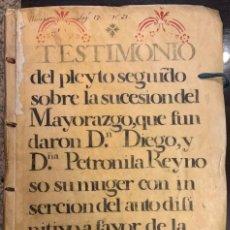 Manuscritos antiguos: SAN MARTIN DEL CAMPO Y FONTANAR, GUADALAJARA. MAYORAZGO DIEGO Y PETRONILA REINOSO. DUQUESA DE RIVAS. Lote 228434100
