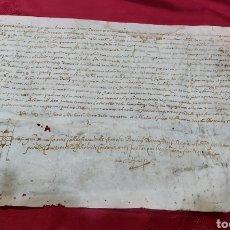 Manuscritos antiguos: MANUSCRITO PERGAMINO 1591. MARQUESADO TORRELLES DE FOIX. LLUIS DE PEGUERA.. Lote 229745105