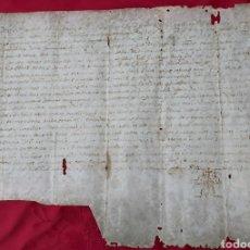 Manuscritos antiguos: MANUSCRITO PERGAMINO 1580. MARQUESADO DE FOIX. FAMILIA RAFECAS/REFEGUES. JAUME COLOMER MOLINO. Lote 230091585