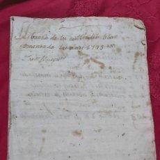 Manuscritos antiguos: MARQUESADO DE FOIX. LIBRETA REGISTRO DE COSECHAS AÑO 1775. JOAN BUSQUET. AGUSTI ROIG. ANTON FARRER. Lote 230417770