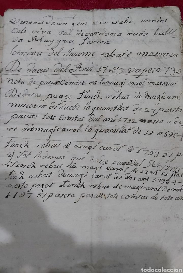 Manuscritos antiguos: MARQUESADO DE FOIX. LIBRETA DE PAGOS MASOVER (APARCERIA) DE DACAS. 1781-1795. - Foto 2 - 230441210