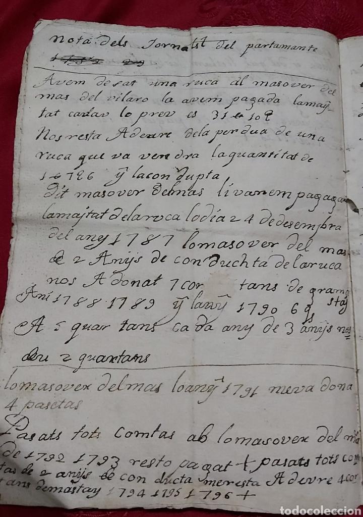 Manuscritos antiguos: MARQUESADO DE FOIX. LIBRETA DE PAGOS MASOVER (APARCERIA) DE DACAS. 1781-1795. - Foto 3 - 230441210