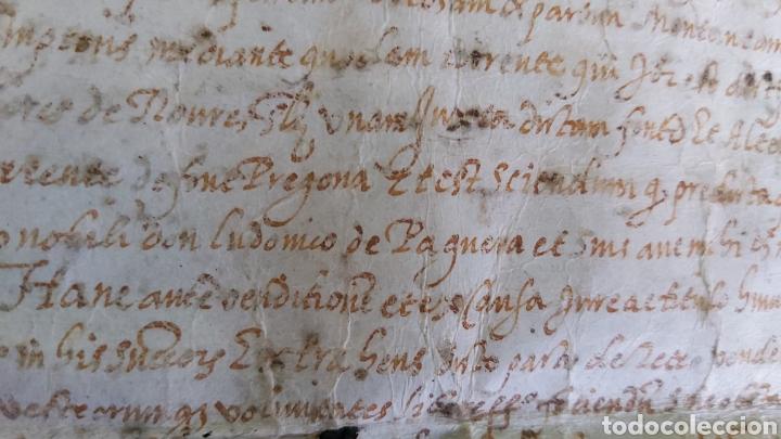 Manuscritos antiguos: MANUSCRITO PERGAMINO AÑO 1591. MARQUESADO TORRELLES DE FOIX. LLUIS DE PEGUERA. VILAFRANCA PENEDES - Foto 2 - 231676085