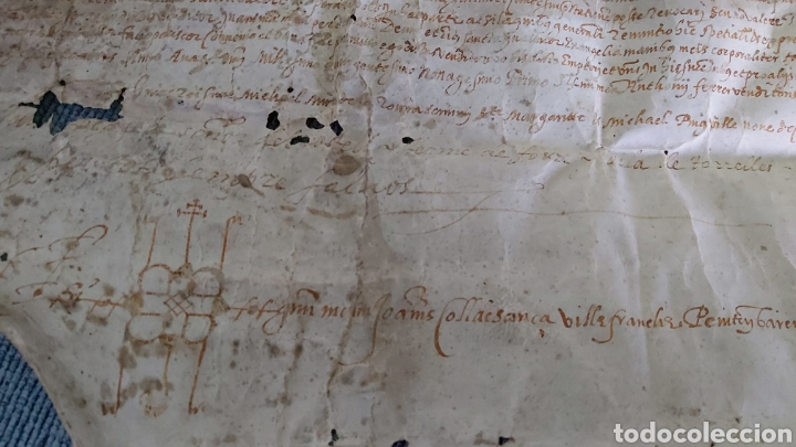 Manuscritos antiguos: MANUSCRITO PERGAMINO AÑO 1591. MARQUESADO TORRELLES DE FOIX. LLUIS DE PEGUERA. VILAFRANCA PENEDES - Foto 3 - 231676085