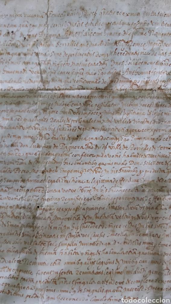 Manuscritos antiguos: MANUSCRITO PERGAMINO AÑO 1591. MARQUESADO TORRELLES DE FOIX. LLUIS DE PEGUERA. VILAFRANCA PENEDES - Foto 6 - 231676085