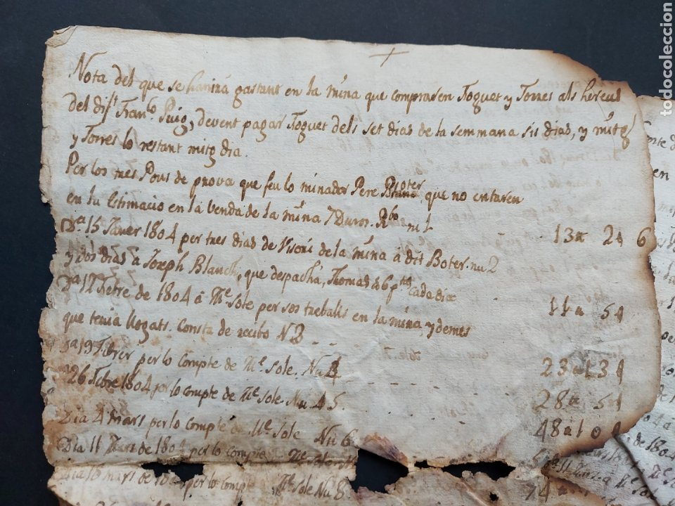 Manuscritos antiguos: Notas Manuscritas Venta o Cuentas Mina Foguet a investigar 1807 S. XIX - Foto 2 - 233640585
