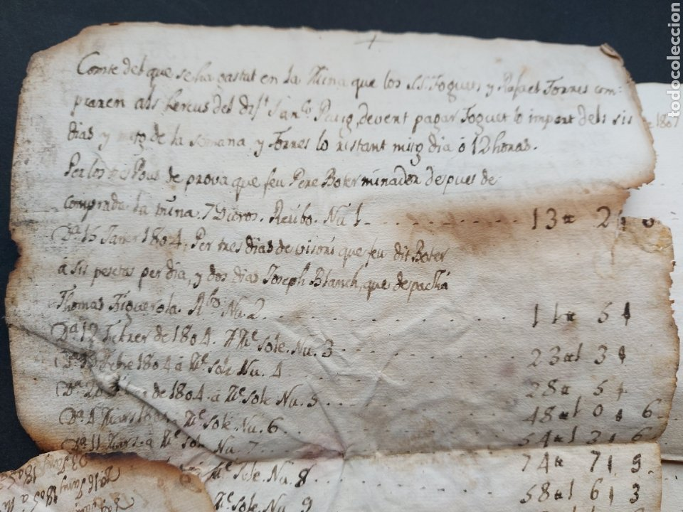 Manuscritos antiguos: Notas Manuscritas Venta o Cuentas Mina Foguet a investigar 1807 S. XIX - Foto 3 - 233640585