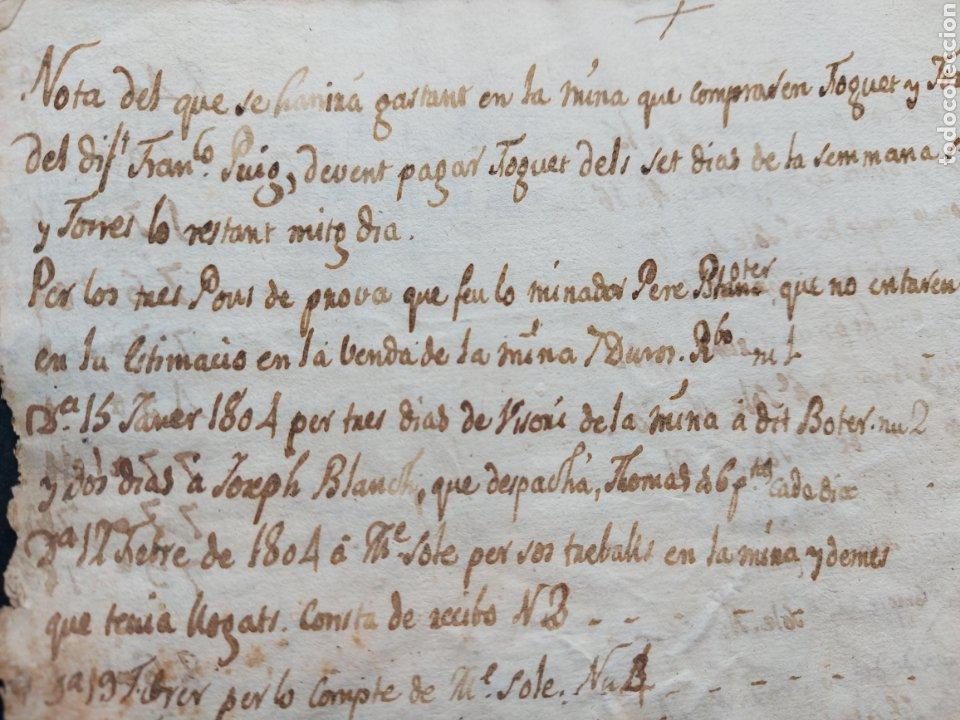 Manuscritos antiguos: Notas Manuscritas Venta o Cuentas Mina Foguet a investigar 1807 S. XIX - Foto 7 - 233640585