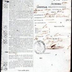 Manuscritos antigos: CEDULA DE IDENTIDAD DE ESCLAVO EMANCIPADO - CUBA 1864. Lote 233358105