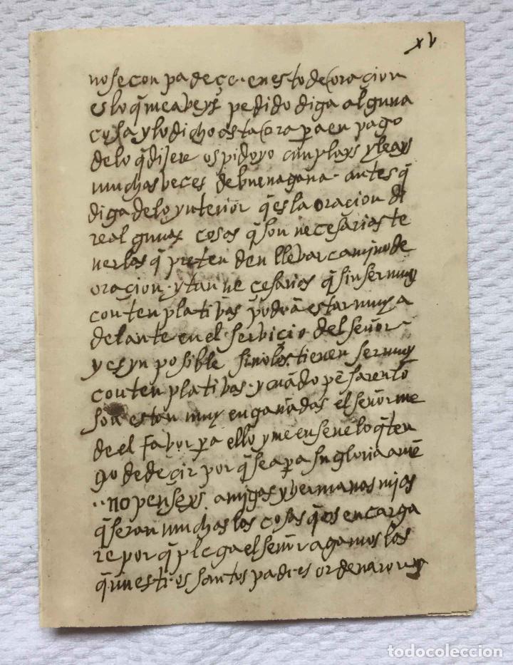 Manuscritos antiguos: Facsímil (SANTA TERESA. Camino de perfección) Escritura autógrafa. Lámina bifolio ¡casi original! - Foto 3 - 233865635
