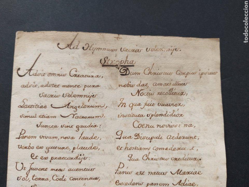 Manuscritos antiguos: Hymnuns Sacrius Solemnys Himno Sacris Solemniis C. XVII Estrofa Libro manuscrito Canto Gregoriano - Foto 2 - 234178970