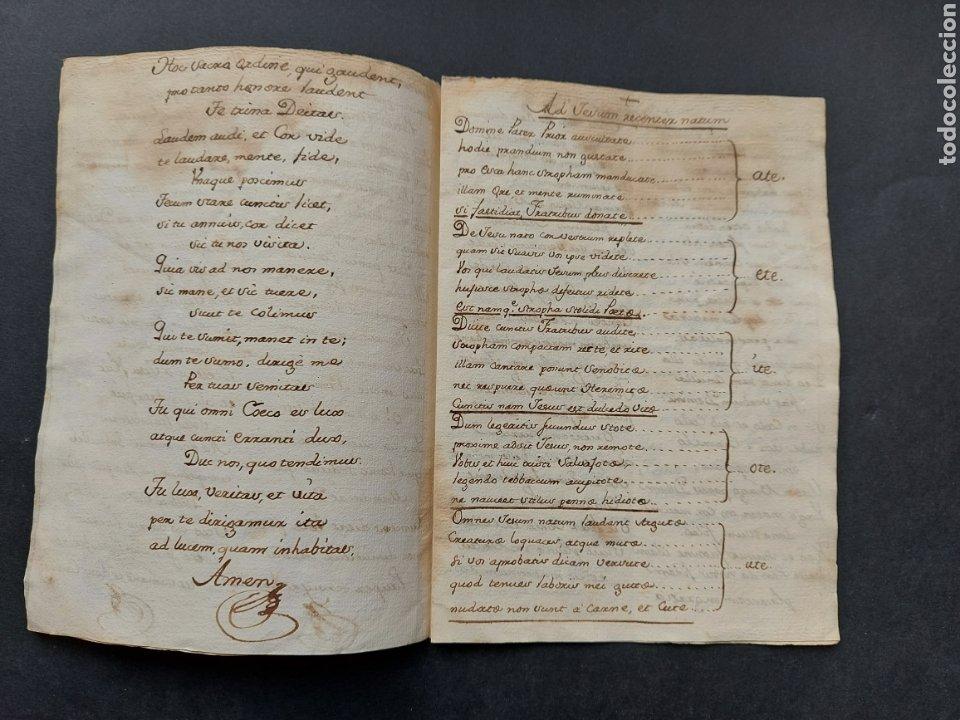 Manuscritos antiguos: Hymnuns Sacrius Solemnys Himno Sacris Solemniis C. XVII Estrofa Libro manuscrito Canto Gregoriano - Foto 4 - 234178970