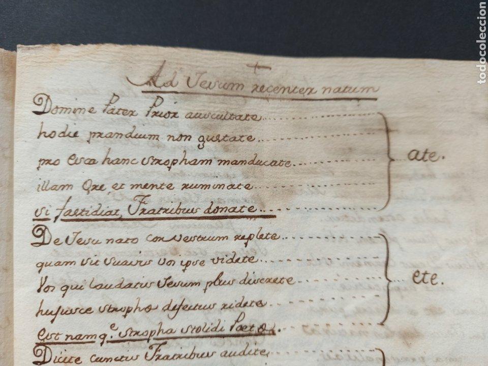 Manuscritos antiguos: Hymnuns Sacrius Solemnys Himno Sacris Solemniis C. XVII Estrofa Libro manuscrito Canto Gregoriano - Foto 6 - 234178970