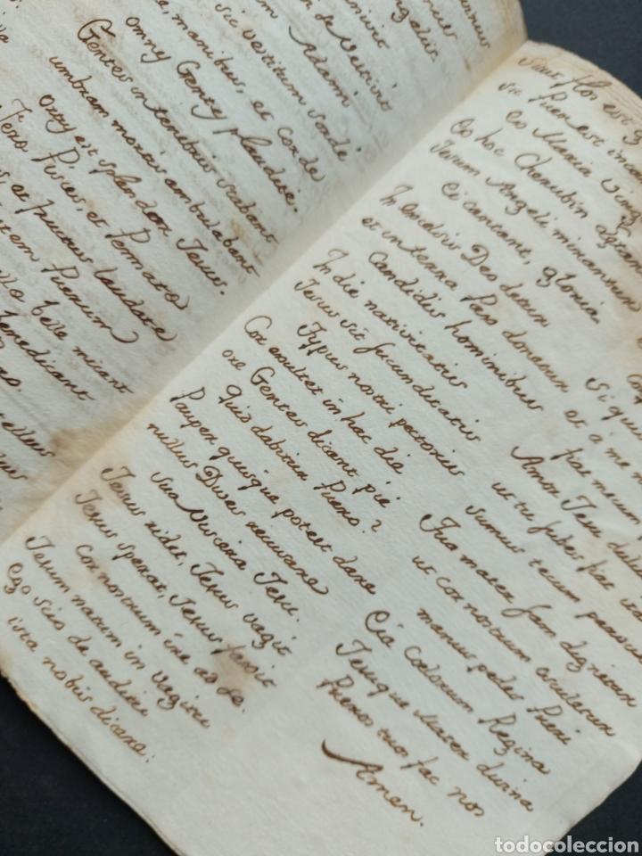 Manuscritos antiguos: Hymnuns Sacrius Solemnys Himno Sacris Solemniis C. XVII Estrofa Libro manuscrito Canto Gregoriano - Foto 7 - 234178970