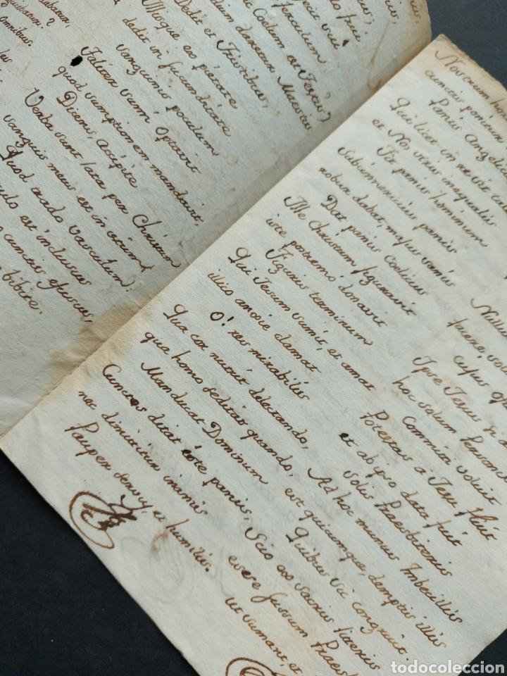 Manuscritos antiguos: Hymnuns Sacrius Solemnys Himno Sacris Solemniis C. XVII Estrofa Libro manuscrito Canto Gregoriano - Foto 3 - 234178970