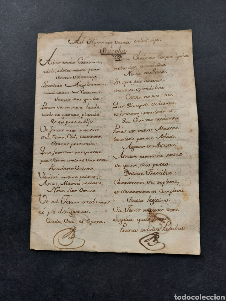HYMNUNS SACRIUS SOLEMNYS HIMNO SACRIS SOLEMNIIS C. XVII ESTROFA LIBRO MANUSCRITO CANTO GREGORIANO (Coleccionismo - Documentos - Manuscritos)