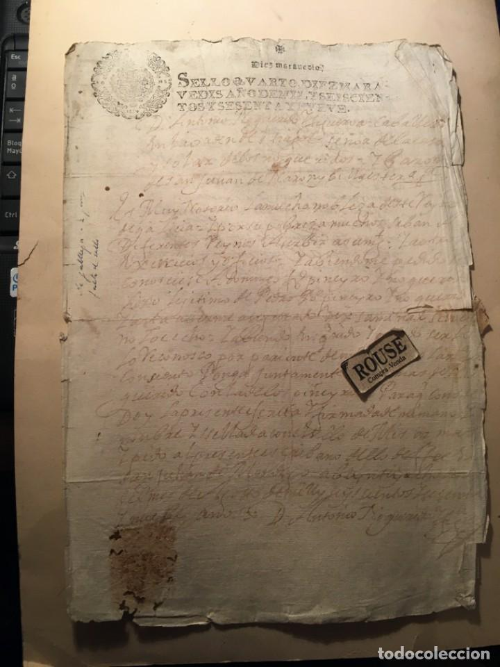 ANTIGUO DOCUMENTO MANUSCRITO 1669 - 4 PAG. (Coleccionismo - Documentos - Manuscritos)