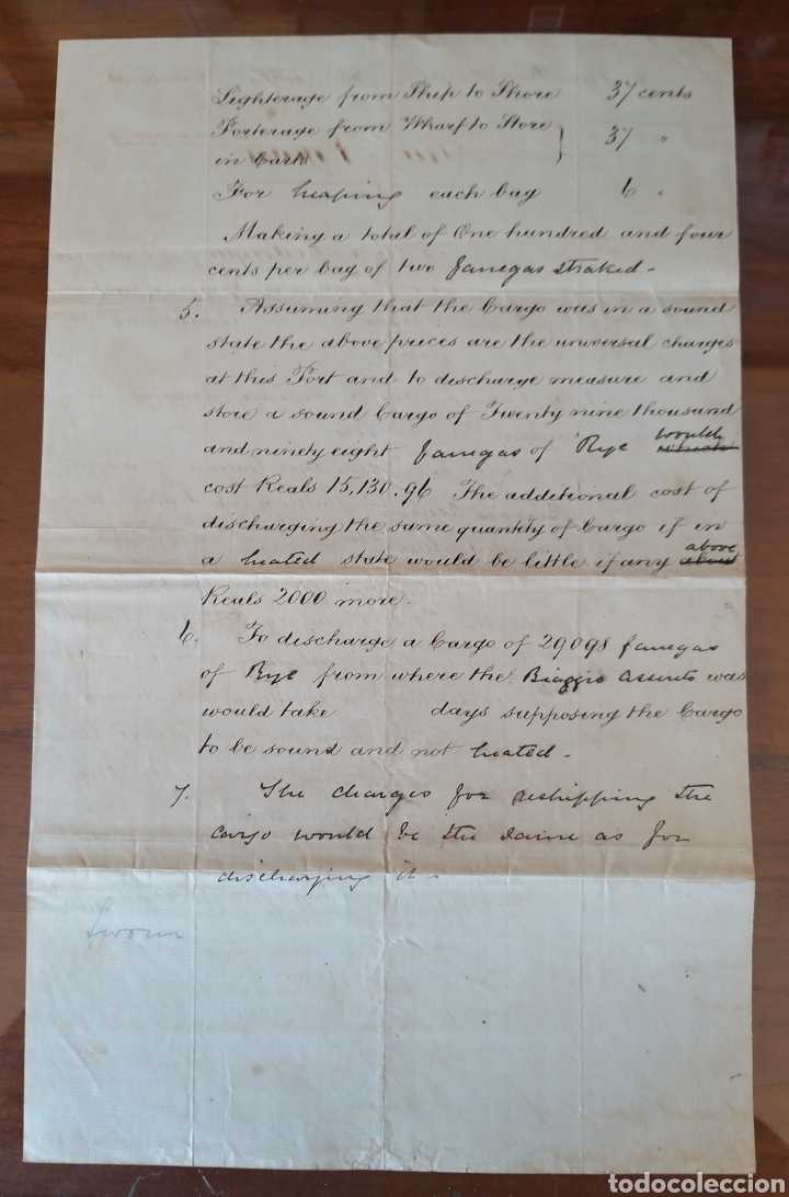 Manuscritos antiguos: MANUSCRITO 1872 EN INGLES. TRIBUNAL ALMIRANTAZGO DE INGLATERRA. MARCA DE AGUA. NAVIO ITALIANO. CÁDIZ - Foto 2 - 235279870