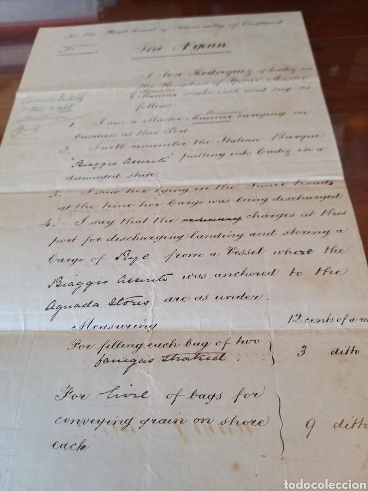 Manuscritos antiguos: MANUSCRITO 1872 EN INGLES. TRIBUNAL ALMIRANTAZGO DE INGLATERRA. MARCA DE AGUA. NAVIO ITALIANO. CÁDIZ - Foto 4 - 235279870