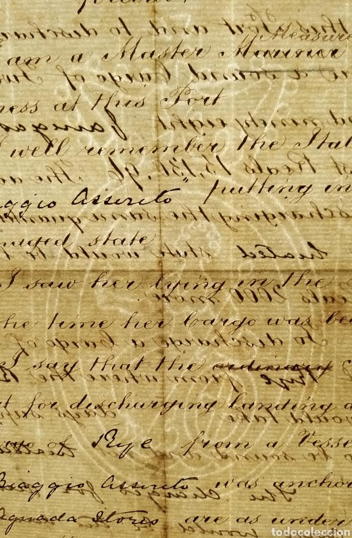 Manuscritos antiguos: MANUSCRITO 1872 EN INGLES. TRIBUNAL ALMIRANTAZGO DE INGLATERRA. MARCA DE AGUA. NAVIO ITALIANO. CÁDIZ - Foto 5 - 235279870