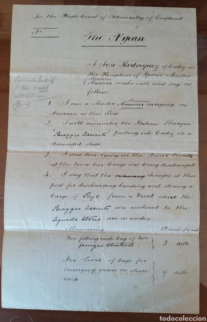 MANUSCRITO 1872 EN INGLES. TRIBUNAL ALMIRANTAZGO DE INGLATERRA. MARCA DE AGUA. NAVIO ITALIANO. CÁDIZ (Coleccionismo - Documentos - Manuscritos)