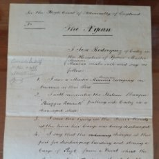 Manuscritos antiguos: MANUSCRITO 1872 EN INGLES. TRIBUNAL ALMIRANTAZGO DE INGLATERRA. MARCA DE AGUA. NAVIO ITALIANO. CÁDIZ. Lote 235279870