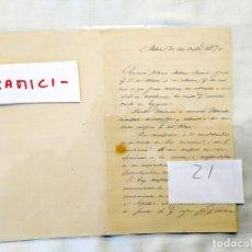 Manuscritos antiguos: 1872 - TOLOSA - FAMILIA EGAÑA. Lote 235564805