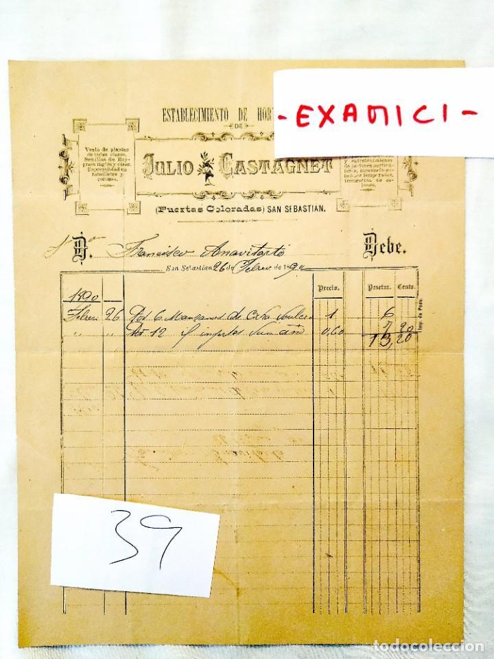 1890 - SAN SEBASTIÁN - ATEGORRIETA - FACTURA ESTABLECIMIENTO HORTICULTURA JULIO CASTAGNET (Coleccionismo - Documentos - Manuscritos)